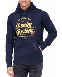 Crosshatch Overhead Men's Taringa Hoodie Night Sky | Jean Scene