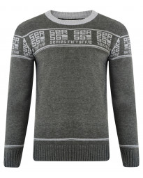 Crosshatch Crew Neck Acrylic Txt Repeat Jumper Charcoal Marl | Jean Scene