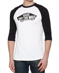 Vans Off The Wall Crew Neck Raglan T-shirt White Black | Jean Scene