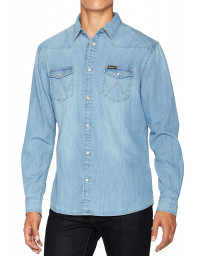 Wrangler Western Denim Shirt Long Sleeve Light Indigo | Jean Scene