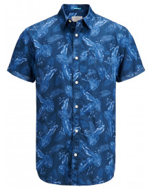 Jack & Jones Originals Paka Floral Short Sleeve Shirt Dark Denim