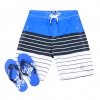 Smith & Jones Beach Swim Shorts & Flip Flop Set Stripe Blue