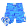 Smith & Jones Beach Swim Shorts & Flip Flop Set Camo Blue