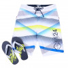 Smith & Jones Swim Beach Shorts & Flip Flop Set Stripe White