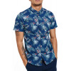 Threadbare Tropico Hawaiian Palm Print Pattern Shirt Short Sleeve Navy Blue | Jean Scene