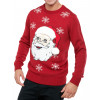 Christmas Jumper Crew Neck Musical Play Santa Claus Head Red | Jean Scene
