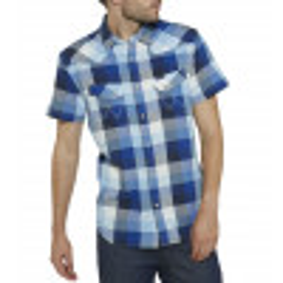Wrangler Western Men's Short Sleeve Check Shirt True Blue | Jean Scene