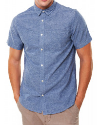 Only & Sons Tinso Plain Shirt Short Sleeve Blue   Jean Scene
