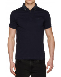 French Connection Print Collared Polo Shirt Marine Blue   Jean Scene