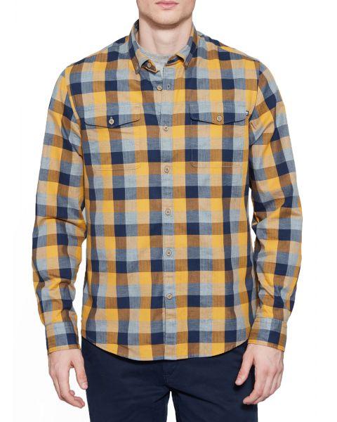 Timberland Stonybrook Slim Herringbo Check Shirt Long Sleeve Cyber Yellow | Jean Scene