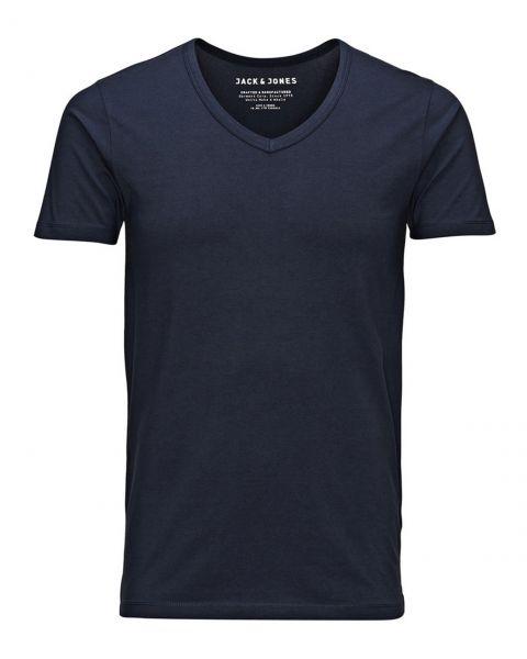 Jack & Jones Basic Vee Neck Cotton Lycra Plain T-shirt Navy Blue | Jean Scene