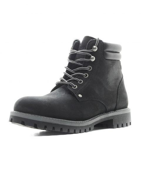 Jack & Jones Mens High Warm Nubuck Stoke Boots Black Shoes | Jean Scene