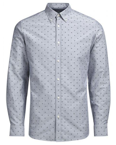 Jack & Jones Premium Panama Shirt Long Sleeve Light Grey   Jean Scene