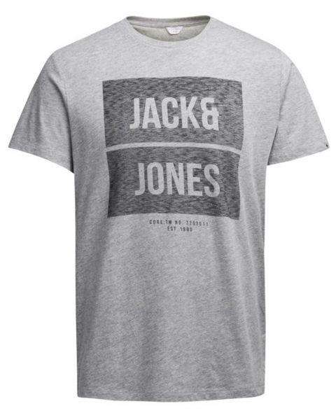 Jack & Jones Core Crew Neck Bak Print T-shirt Light Grey   Jean Scene