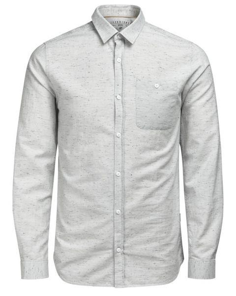 Jack & Jones Originals Regular Sustain Long Sleeve Shirt Oyster   Jean Scene