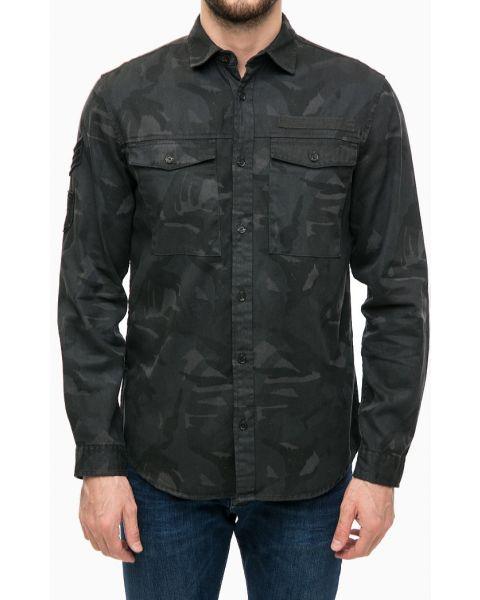 Jack & Jones Originals Regular Battle Heavy Cotton Over Shirt Dark Grey   Jean Scene