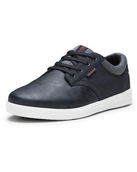 Jack & Jones Men's Gaston Low PU Leather Shoes Shoes Anthracite Black | Jean Scene