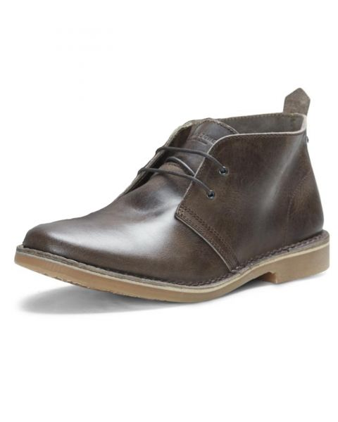 Jack & Jones Mens High Leather Gobi Desert Boots Chocolate Brown Shoes | Jean Scene