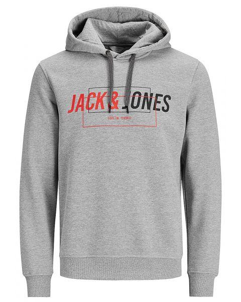 Jack & Jones Overhead Men's Linn Hoodie Light Grey | Jean Scene