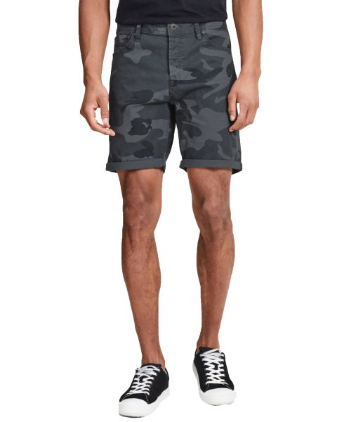 Jack & Jones Men's Rick Chino Stretch Shorts Dark Grey Camo | Jean Scene