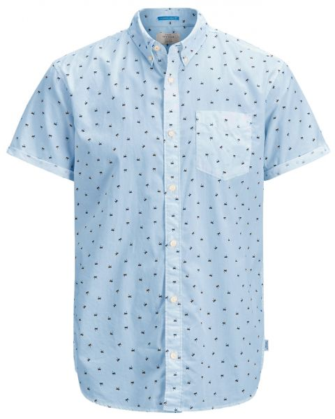 Jack & Jones Originals Regular Cambridge Short Sleeve Shirt Cashmere Blue | Jean Scene