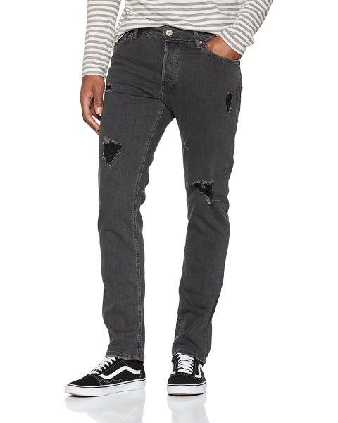 Jack & Jones Tim Slim Fit Denim Jeans Ripped Grey | Jean Scene