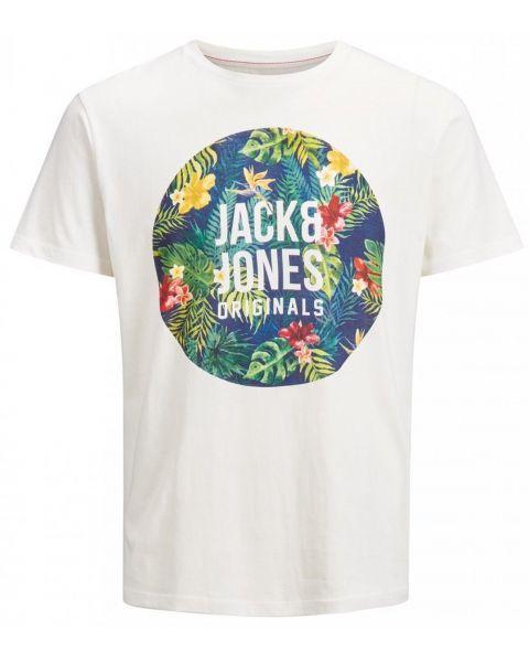 Jack & Jones Original Crew Neck Rain Print T-shirt Cloud Dancer   Jean Scene