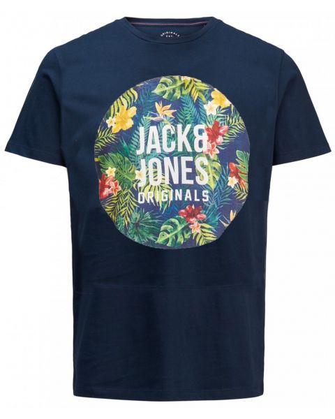 Jack & Jones Original Crew Neck Rain Print T-shirt Total Eclipse   Jean Scene
