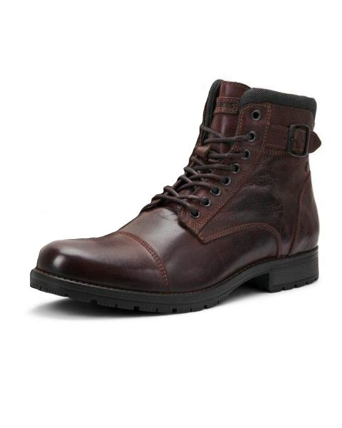 Jack & Jones Albany Leather Boots Brown Stone