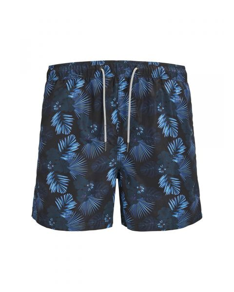 Jack & Jones Mens Mens Aruba Floral Swim Shorts Black | Jean Scene