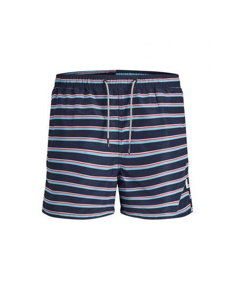 Jack & Jones Mens Mens Aruba Stripe Swim Shorts Navy Blazer | Jean Scene