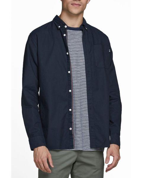 Jack & Jones Button Down Oxford Shirt Long Sleeve Navy Blazer | Jean Scene