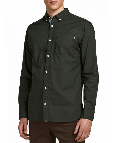 Jack & Jones Button Down Oxford Shirt Long Sleeve Olive Night | Jean Scene