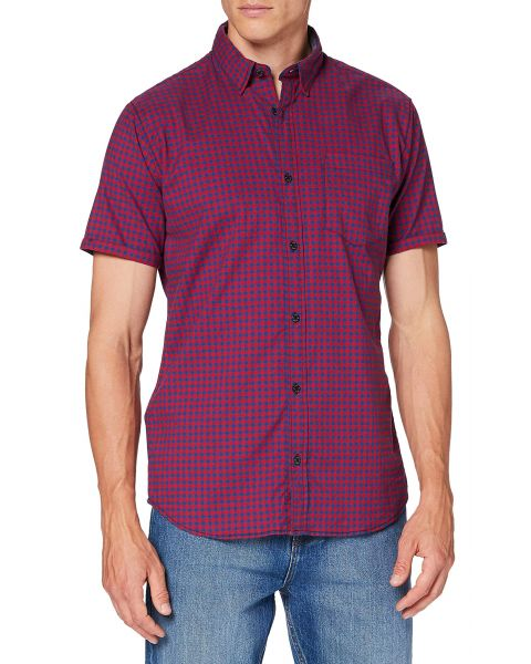 Jack & Jones Short Sleeve Check Shirt Chilli | Jean Scene