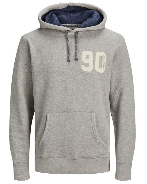 Jack & Jones Structure Application Men's Hooded Sweatshirt Cool Grey | Jean Scene