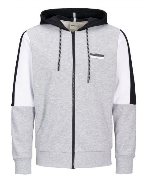 Jack & Jones Core Zip Up Regular Hoodie Long Sleeve Light Grey   Jean Scene
