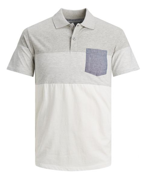 Jack & Jones Contrast Polo Shirt  Light Grey   Jean Scene