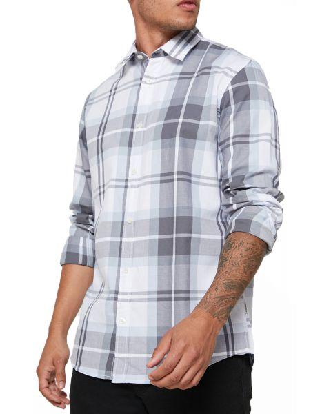 Jack & Jones Long Sleeve Check Shirt Long Sleeve Faded Denim | Jean Scene