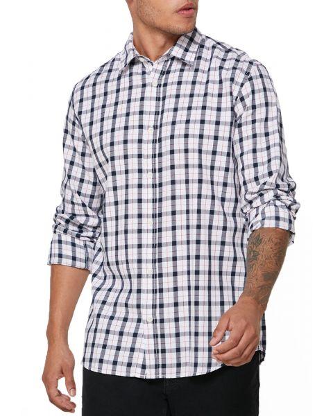 Jack & Jones Long Sleeve Check  Shirt Long Sleeve White | Jean Scene