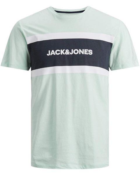 Jack & Jones Shake Print Crew Neck T-Shirt Bleached Aqua