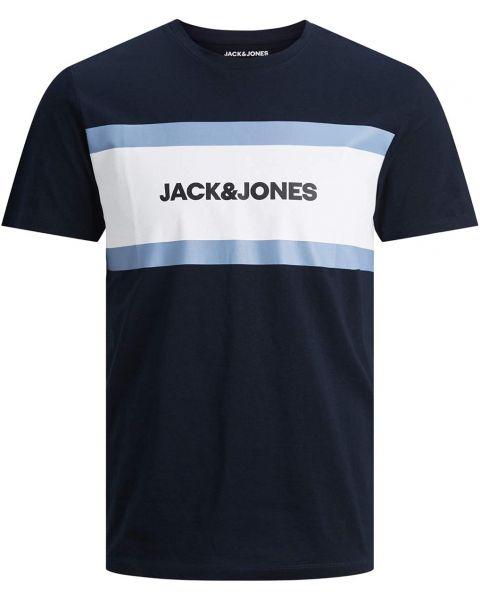 Jack & Jones Shake Print Crew Neck T-Shirt Navy Blazer