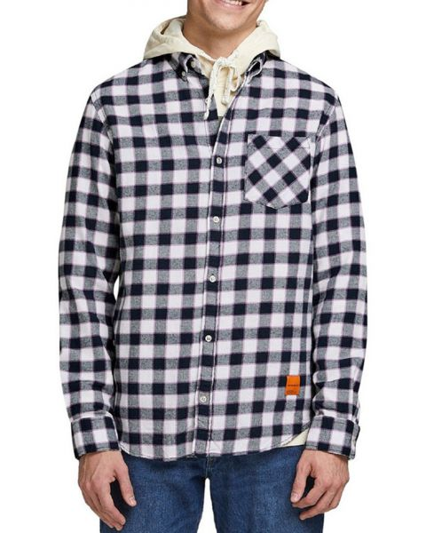 Jack & Jones Long Sleeve Check Shirt Long Sleeve  Navy Blazer | Jean Scene