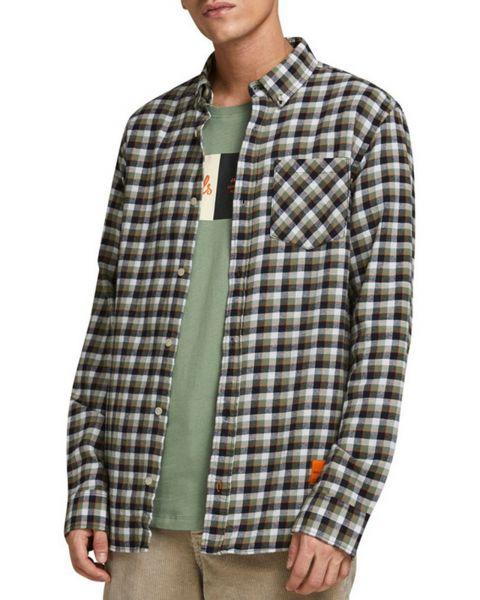 Jack & Jones Long Sleeve Check Shirt Long Sleeve Sea Spray | Jean Scene