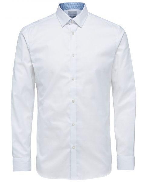Selected Slim Mark Long Sleeve Shirt Bright White | Jean Scene