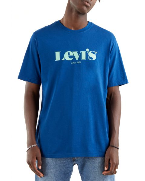 Levis Relaxed Logo Men's T-Shirt Navy Peony | Jean Scene