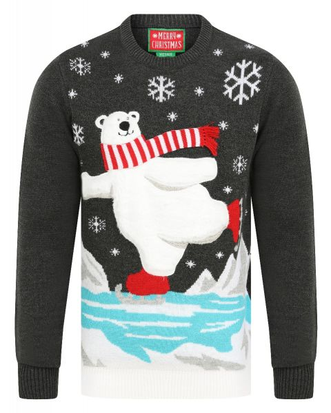 Christmas Jumper Music 'Jingle Bells' Ice Skating Polar Bear Charcoal