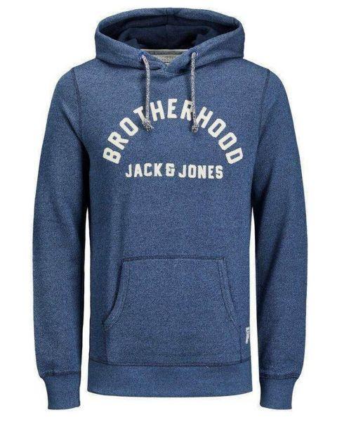 Jack & Jones Structure Application Men's Hooded Sweatshirt Navy Blazer | Jean Scene