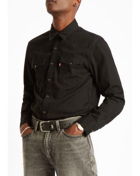 Levis Barstow Long Sleeve Denim Men's Shirt Marble Black | Jean Scene