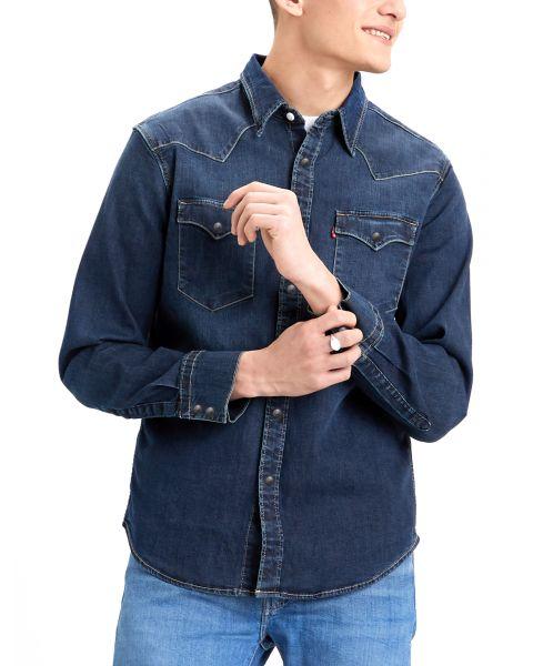 Levis Barstow Western Denim Men's Shirt Dark Worn | Jean Scene