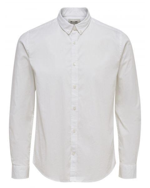 Only & Sons Albiol Plain Shirt Long Sleeve White | Jean Scene